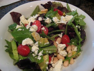 Mixed Green Salad with Tomatoes, Avocado, Beans & Feta
