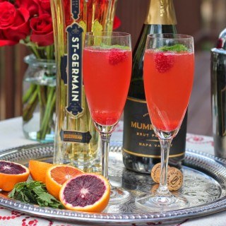 Sparkling Wine with St. Germain and Blood Orange Juice