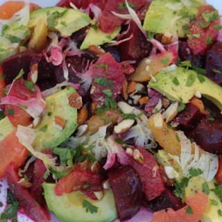 Roasted Beets with Avocado, Orange, Fennel, Almonds and Sherry Vinegar