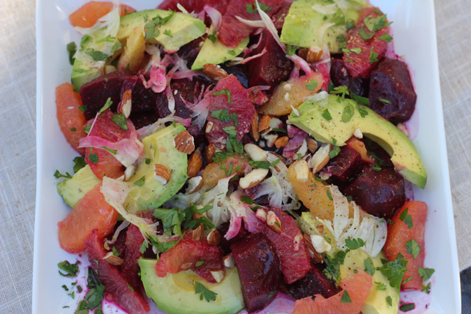 Roasted Beets, avocado, orange,fennel, almonds and sherry vinegar-6