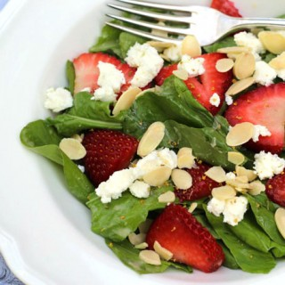 Strawberry Arugula Salad with Rhubarb Vinaigrette