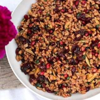Farro Salad with Pomegranate Seeds, Dried Cranberries and Almonds