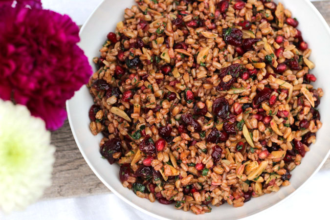 Farro Salad with Pomegranate Seeds and Dried Cranberries-12