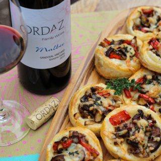 Malbec Pairing:  Shiitake, Onion, Pepper, and Manchego Tartlets