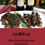 Bison Flank Steak with Chimichurri & Lamb Eggplant Skewers