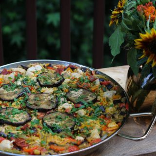 Chicken Eggplant Paella Paired with Arínzano La Casona