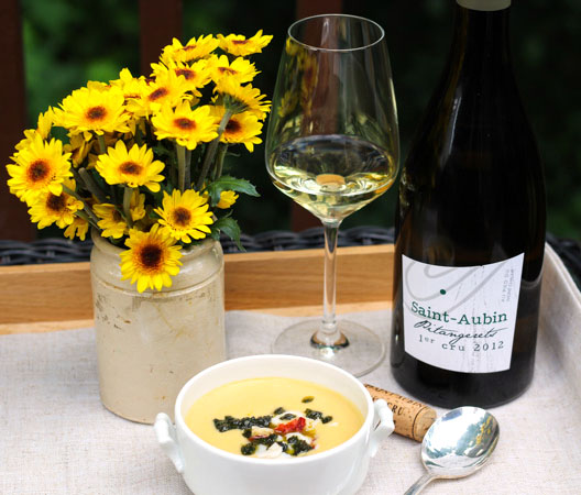 Premier Cru Saint-Aubin paired with Corn and Lobster Chowder