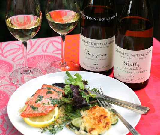 Domaine de Villaine Bouzeron and Rully Les Saint-Jacques paired with Copper River Salmon
