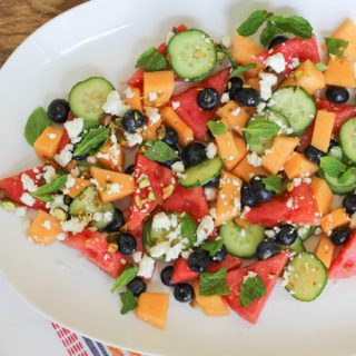 Melon, Blueberry, and Cucumber Salad with Ginger Lime Dressing
