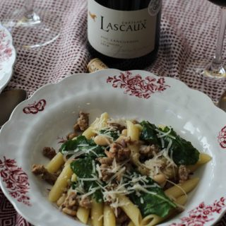 Rustic Sausage Kale Pasta with Languedoc Wine