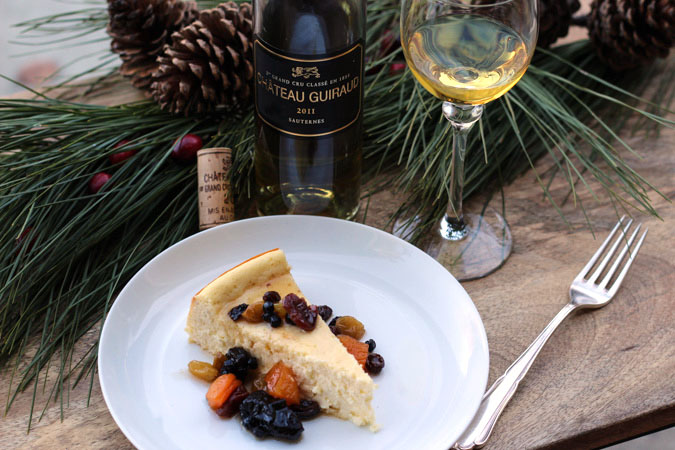 Cheesecake with Dried Fruit Compote paired with Sauternes
