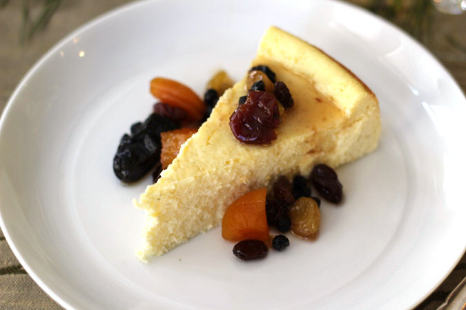 Cheesecake with Dried Fruit Compote