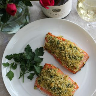 Dijon-Herb Crusted Salmon Paired with Chardonnay