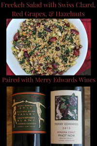 Freekeh Salad with Swiss Chard, Red Grapes, & Hazelnuts paired with Merry Edwards Wines