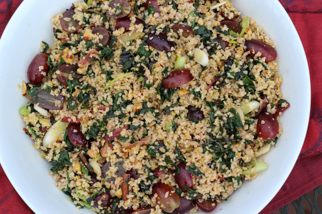 Freekeh Salad with Swiss Chard, Red Grapes, Hazelnuts