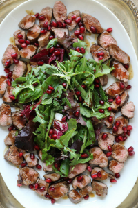 Seared Lamb Fillet, Mixed Greens with Pomegranate Dressing