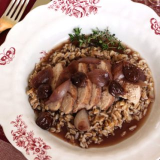 Chicken Breasts in a Tart Cherry Pinot Noir Sauce #WinePW #OTBN