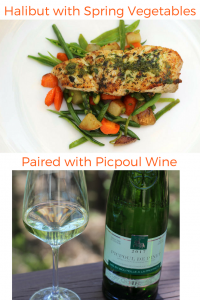 Halibut with Spring Vegetables Paired with Picpoul Wine