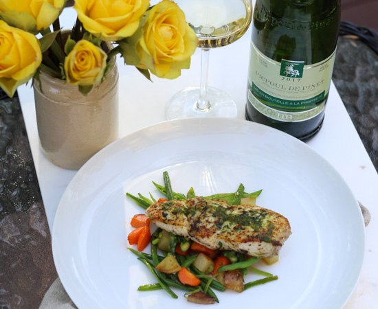 Halibut with Spring Vegetables and Picpoul Wine
