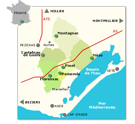 Map of AOC Languedoc Picpoul de Pinet