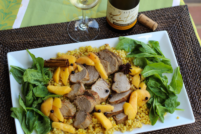 Pork Tenderloin and Pickled Peaches Paired with Alsace Gewurztraminer