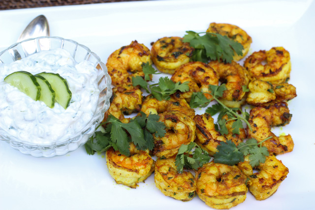 Indian Spiced Shrimp and Raita Paired with Alsace Riesling