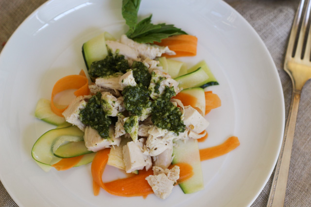 Chicken with Shaved Vegetables and Almond Pesto