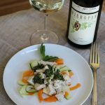 Chicken with Shaved Vegetables and Almond Pesto Paired with Soave