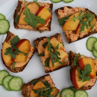 Pimiento Cheese and Peach Toasts