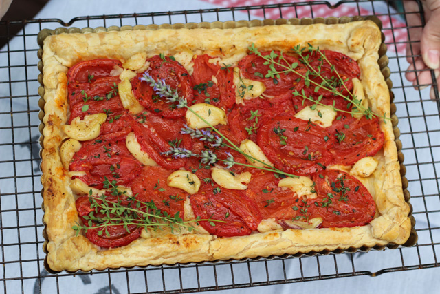Roasted Herb Tomato and Garlic Tart with Puff Pastry