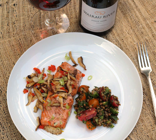 Roasted Salmon with Shiitake Mushrooms and Pinot Noir
