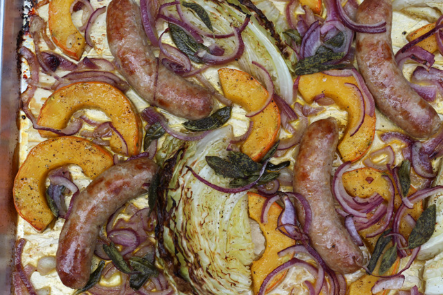 Italian Sausage with Roasted Cabbage and Squash