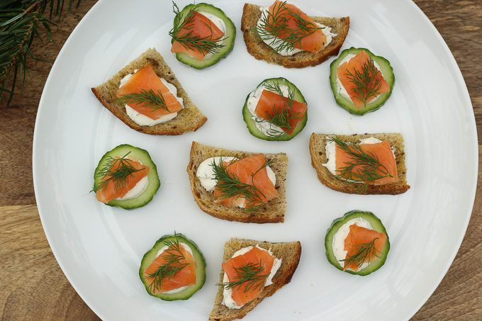 Rye Toasts & Cucumbers with Smoked Salmon, Crème Fraîche, and Dill