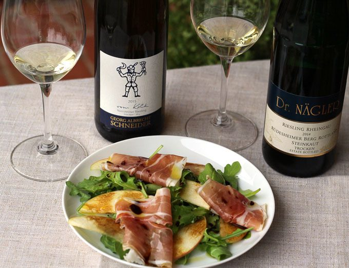 Apple, Speck, Arugula Salad with Aged Balsamic with German Riesling