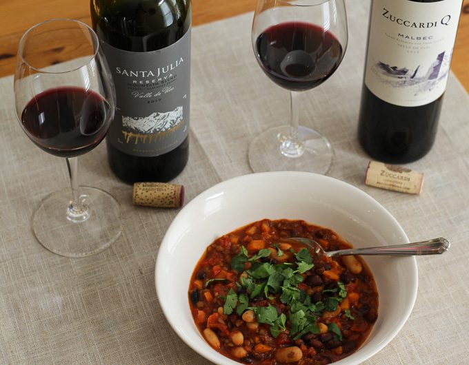Vegetarian Chili with Argentine Malbec