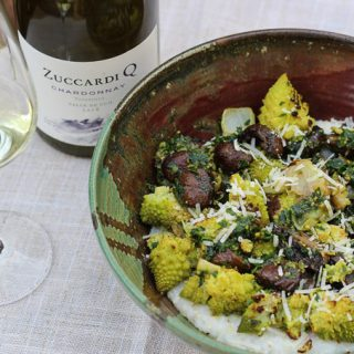 Roasted Romanesco with Polenta paired with Argentine Chardonnay
