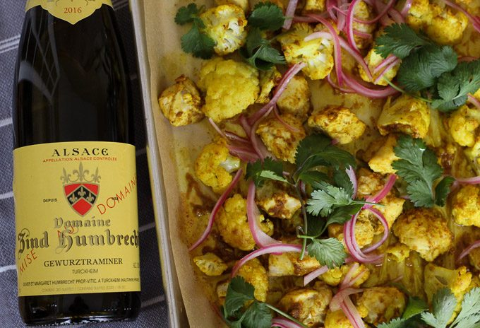 Domaine Zind Humbrecht Gewürztraminer paired with Sheet Pan Chicken Curry