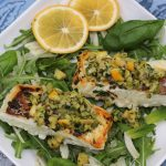 Halibut with Meyer Lemon Olive Salsa and Bandol Blanc