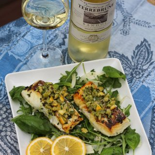 Halibut with Meyer Lemon Olive Salsa and Bandol Blanc