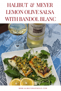 Halibut & Meyer Lemon Olive Salsa with Bandol Blanc