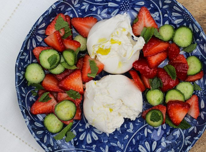 Burrata with Strawberry & Cucumber Salad