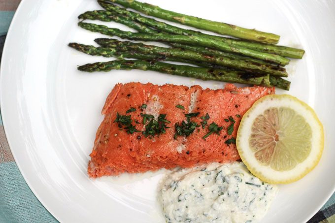 Alaskan Salmon with Herbed Ricotta