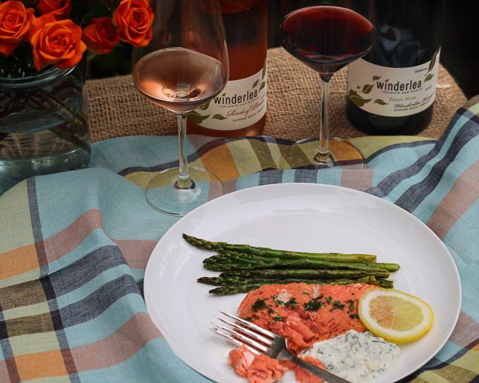 Alaskan Salmon with Herbed Ricotta and Oregon Pinot Noir