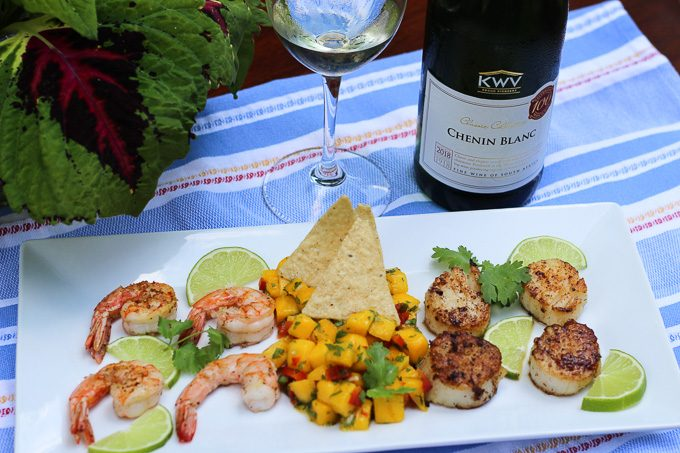 South African Chenin Blanc Paired with Shrimp, Scallops, and Mango Salsa