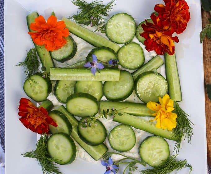 Persian Cucumbers with Lemon Vinaigrette and Dill Yogurt