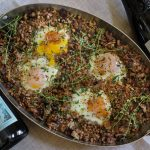 Baked Eggs with Farro and Mushrooms