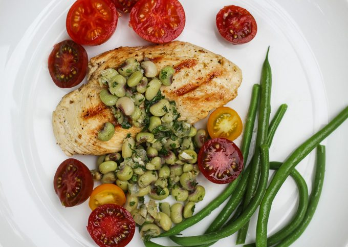 Citrus Marinated Chicken Breasts with Pink-Eyed Pea Relish