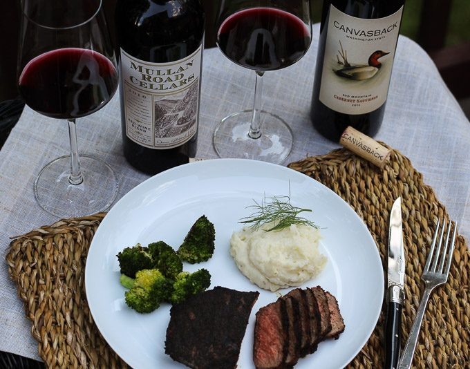 Washington Red Wines Paired with Bison Filets, Mashed Potatoes with Fennel and Grilled Broccoli