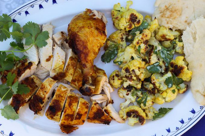Tikka Masala Roasted Chicken with Roasted Cauliflower with Curry and Lime
