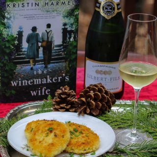 The Winemaker's Wife by Kristin Harmel with Champagne and Risotto Chive Cakes